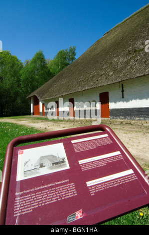 Traditional barn with thatched roof in the open air museum Bokrijk, Belgium - Stock Photo