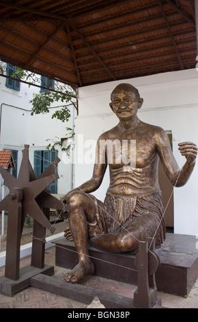 statue of mahatma Gandhi near rajghat, delhi - Stock Photo