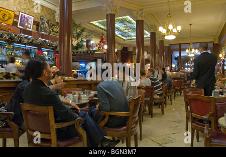 People dining in Cafe Tortoni in Buenos Aires, Argentina - Stock Photo