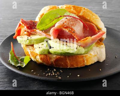 Bacon and avacado sandwich - Stock Photo