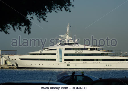 Windows on a large expensive private luxury motor cruiser - Stock Photo