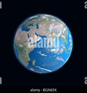 high detailed Earth map, africa, asia, Arabia, Somalia, India, Indian Ocean, Madagascar, china - Stock Photo