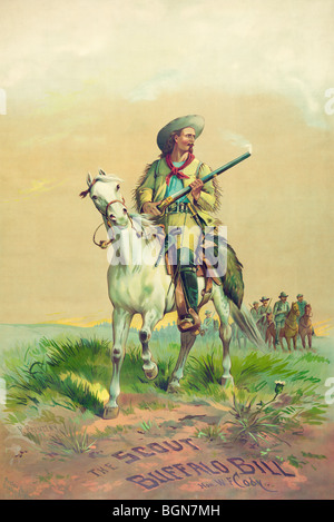 Lithograph print c1880s depicting Buffalo Bill, alias William Frederick Cody (1846 - 1917), on horseback with a - Stock Photo