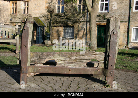 Town Stocks the Square Stow on the Wold Gloucestershire - Stock Photo