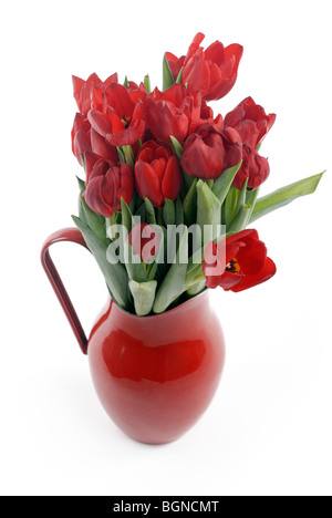 Red tulips in container - Stock Photo
