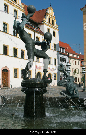 Fountain in the market square of Torgau, Germany - Stock Photo