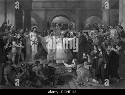 Print c1870 entitled 'Christ Rejected' and depicting Jesus being rejected by the Jews when brought before Pontius - Stock Photo