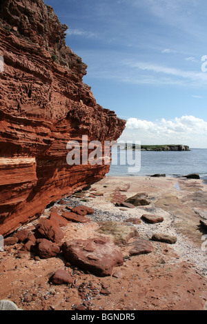 Bunter Sandstone Cliff On Hilbre Island, The Wirral, Merseyside, UK - Stock Photo
