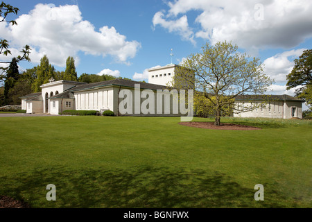 Air Forces Memorial Runnymede - Late Spring East Lookout, Portico Entrance, Shrine / Chapel & Astral Crown - Stock Photo
