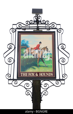 Pub Sign Outside a Country Inn, Oxfordshire, United Kingdom. - Stock Photo