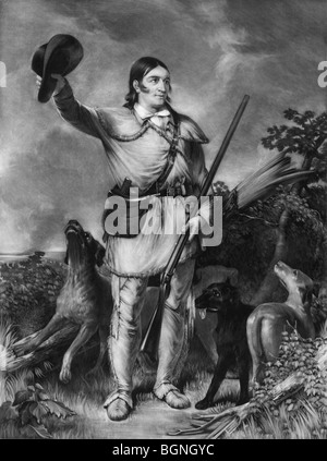 Portrait c1839 of Davy Crockett (1786 - 1836) - the American frontiersman and folk hero killed in the Battle of - Stock Photo