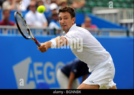 Alex Bogdanovic in action during the Aegon International 2009 Tennis Championships at Devonshire Park Eastbourne - Stock Photo