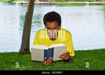 young person 16-17 year old teenage boy young man relaxing relaxes reading in park under tree shade front view  - Stock Photo
