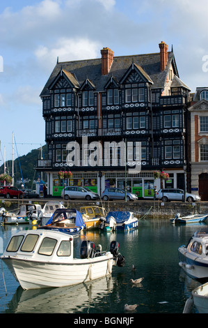 The inner harbour at Dartmouth Devon England and an interesting building in the background - Stock Photo