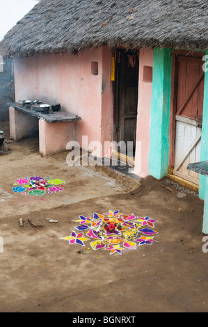 Rangoli Festival Designs Outside A Rural Indian Village