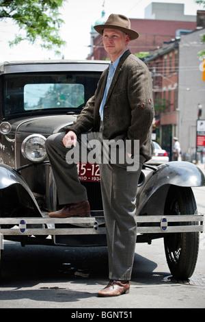 Actors on the movie set, Toronto, 'Kit Kittredge: An American Girl' - Stock Photo