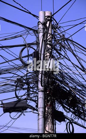 Tangled wires. La Paz, Bolivia. - Stock Photo