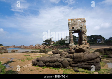 The Oratory, on the Saint-Guirec beach, is home to the evangelist saint of Perros-Guirec, Côtes-d'Armor, Brittany, - Stock Photo