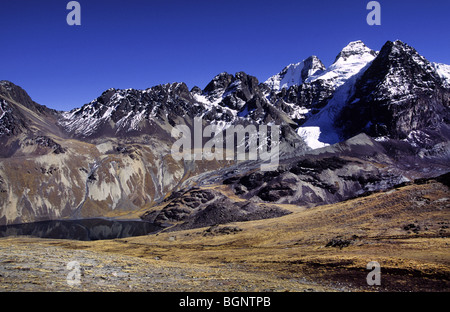 Condoriri mountains and lake Charkothia. Cordillera Real, Bolivia. - Stock Photo