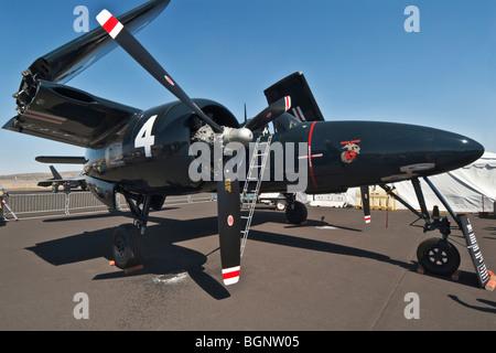 Nevada Reno Air Races F7F Tiger Cat display airplane - Stock Photo