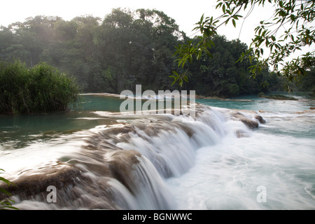 Agua Azul jungle waterfalls and rapids in Chiapas Mexico - Stock Photo