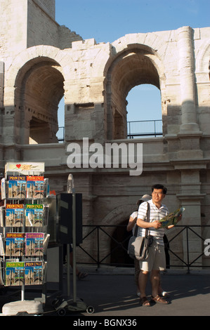 Arles, France, Asian Man, TOurist, Visiting Arena in Center City - Stock Photo