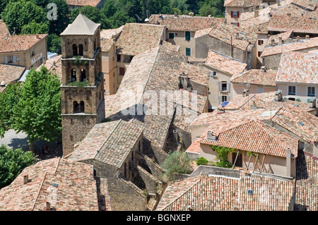 Aerial view over Moustiers-Sainte-Marie and the Notre-Dame-de-l'Assomption church, Provence, Alpes-de-Haute-Provence, - Stock Photo