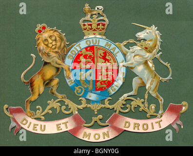 Chromolithographed die cut scrap of Royal Coat of Arms - Stock Photo