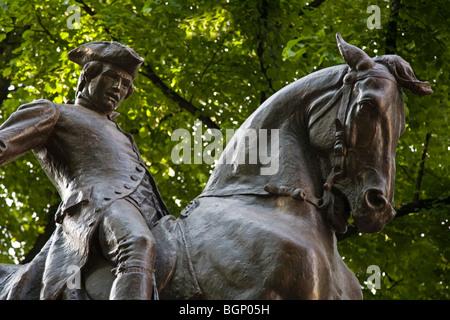 Statue of PAUL REVERE on his famous ride - BOSTON, MASSACHUSETTS - Stock Photo
