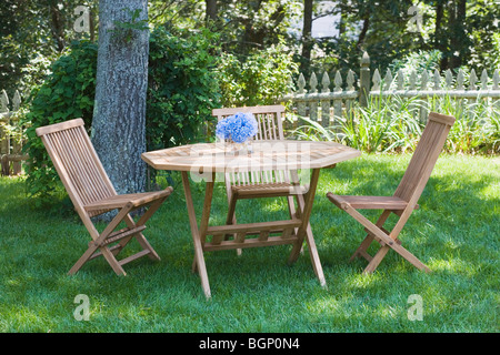 Empty chairs and a table in a lawn
