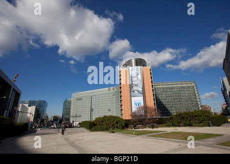 View of the Berlaymont building, the European Commission headquarters in Brussels, taken from the Schuman roundabout. - Stock Photo