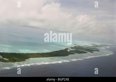 The islands of Kiribati atoll in the Pacific Ocean. - Stock Photo