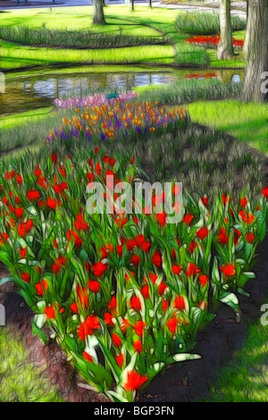 Photo illustration:  Displays of tulips in Spring - Stock Photo