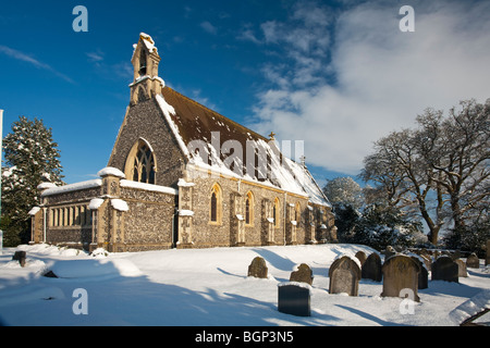 St Saviours Church in the snow, Mortimer West End, Reading, Berkshire, Uk - Stock Photo