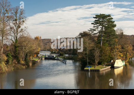 Temple Lock on the River Thames, Berkshire, UK - Stock Photo