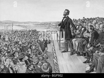 Print c1905 of US President Abraham Lincoln giving the famous Gettysburg Address on November 19 1863.