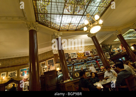 People dining in Cafe Tortoni, Buenos Aires, Argentina - Stock Photo