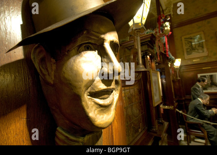 Close-up of Sculpture face in Cafe Tortoni, Buenos Aires, Argentina - Stock Photo