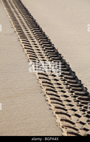 Vehicle tracks on a beach damaging the environment - Stock Photo