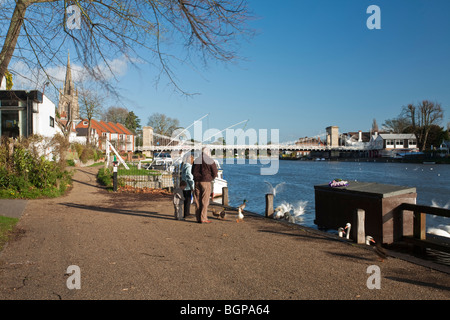 Feeding birds on the Thames promenade at Marlow in Buckinghamshire, Uk - Stock Photo