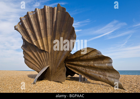 The Scallop at Aldeburgh Beach scallop shell steel sculpture by the artist Maggi Hambling Aldeburgh beach Suffolk - Stock Photo