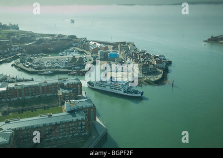 View of Old Portsmouth from the Spinnaker Tower with the Isle of Wight beyond shrouded in early morning mist. - Stock Photo