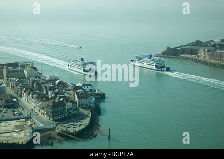 Ferries entering/leaving Portsmouth Harbour as viewed from the Spinnaker Tower, Portsmouth, England. - Stock Photo