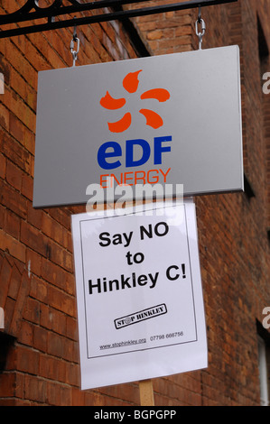 Demonstration at Electriciti de France office in Bridgwater against plans to build Hinkley C nuclear power station - Stock Photo
