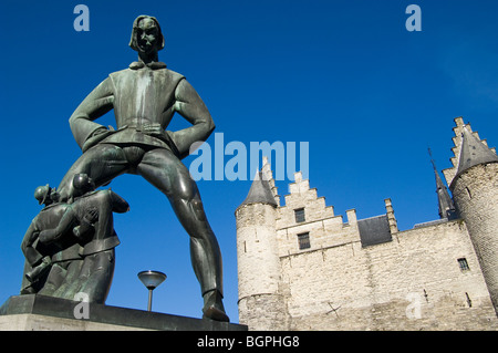 The Lange Wapper statue at the entrance of the castle The Steen on the border of the river Scheldt, Antwerp, Belgium, - Stock Photo