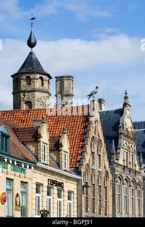 Façades along the central market square at Veurne / Furnes, West Flanders, Belgium - Stock Photo