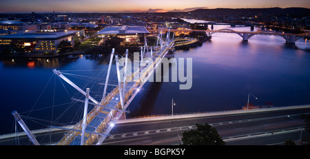 Aerial view of Kurilpa Bridge South Brisbane Queensland - Stock Photo