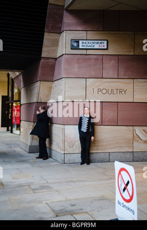 People smoking outside Number 1 Poultry, London, England, Britain, UK - Stock Photo