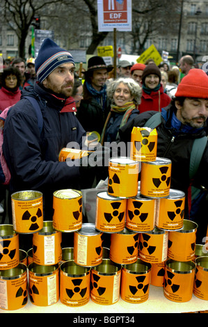 Paris, France, Anti-Nuclear Power Demonstration, with militants Man Holding Cans - Stock Photo