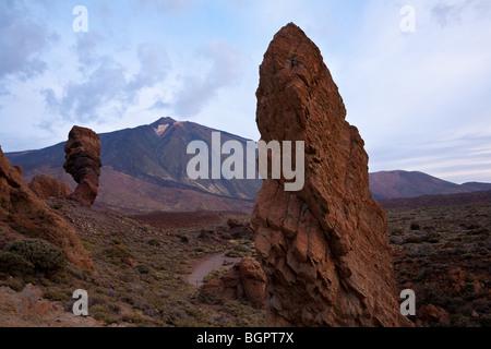 Los Roques de Garcia, with Mount Teide in the Las Canadas national park. Tenerife Canaries. - Stock Photo